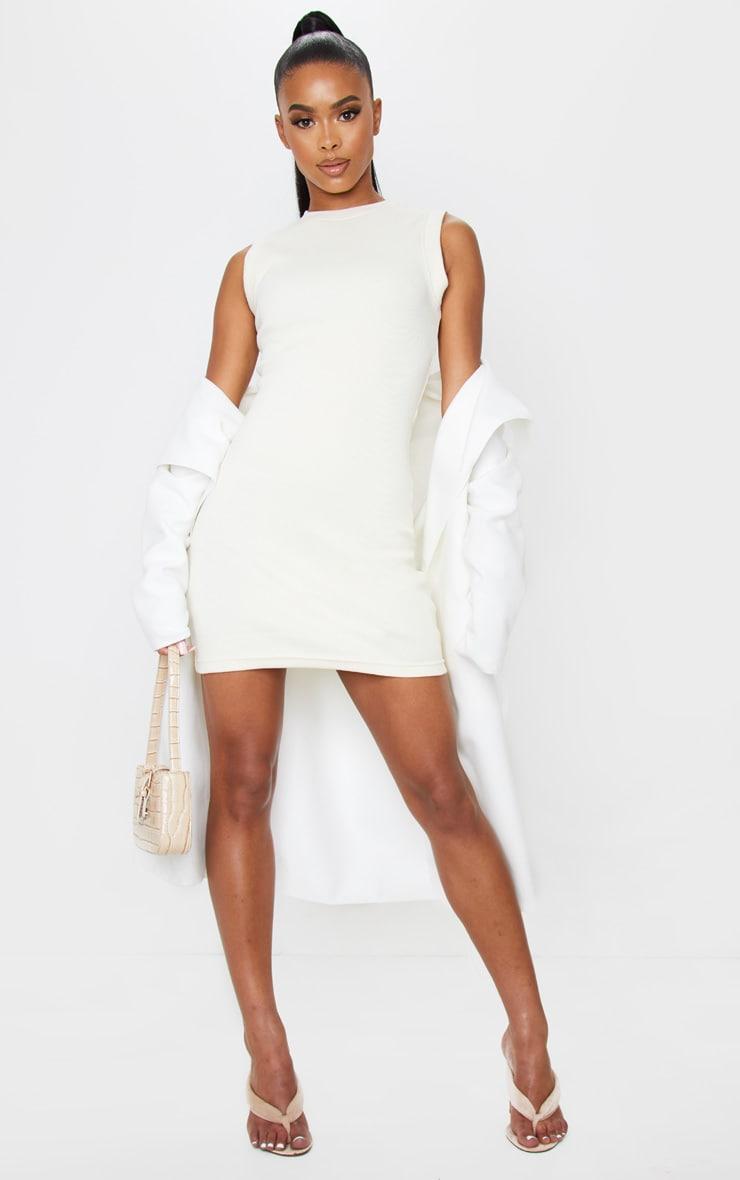 Cream Round Neck Ribbed Mini Dress 3