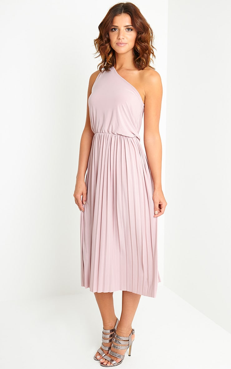 Carey Mauve One Shoulder Pleated Dress 3