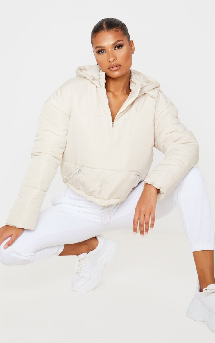 Cream Hooded Pull Over Puffer Jacket 1
