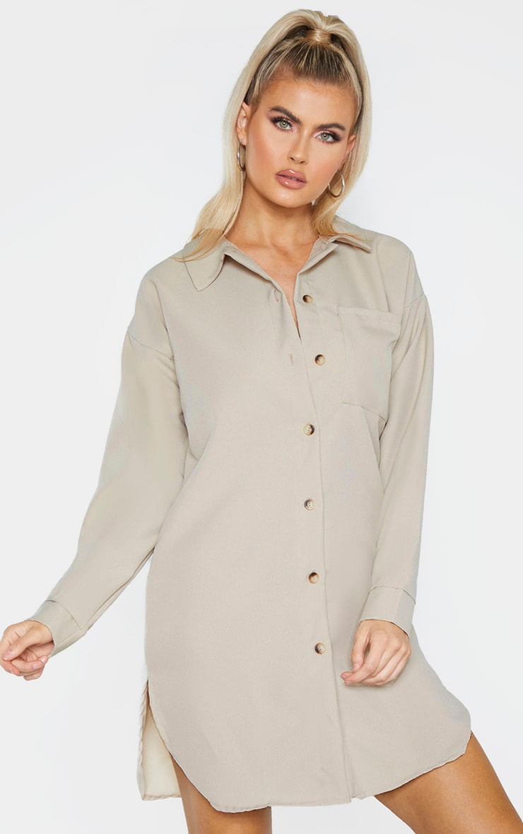 Tall Stone Pocket Detail Oversized Shirt Dress 1