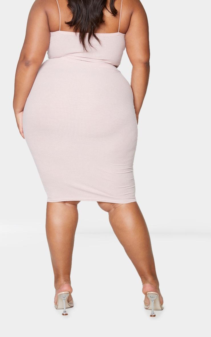 Plus Dusty Pink Soft Rib Midi Skirt 3