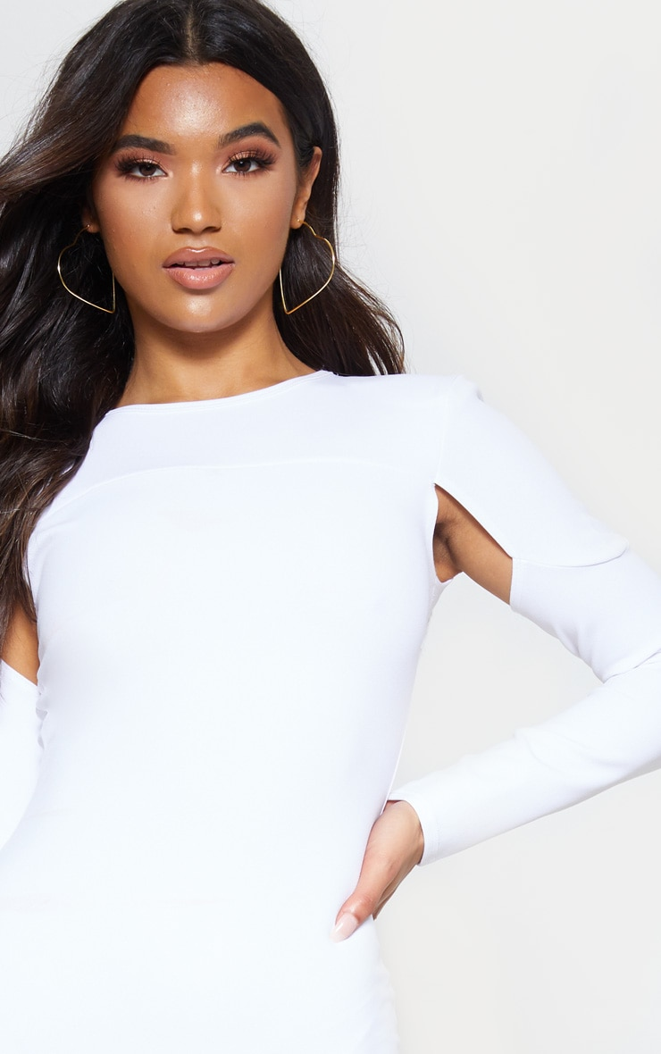 Stone Puff Sleeve Cut Out Bodycon Dress 5