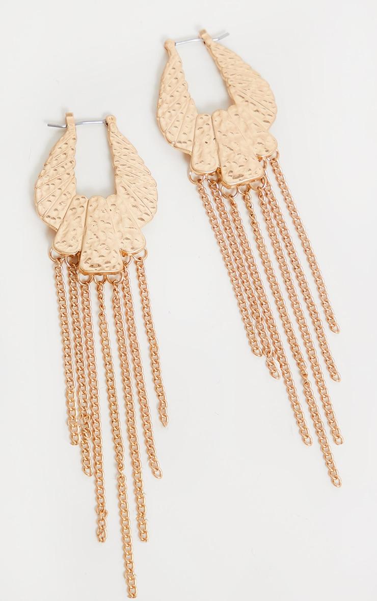 Gold Hammered Shell Tassel Earrings