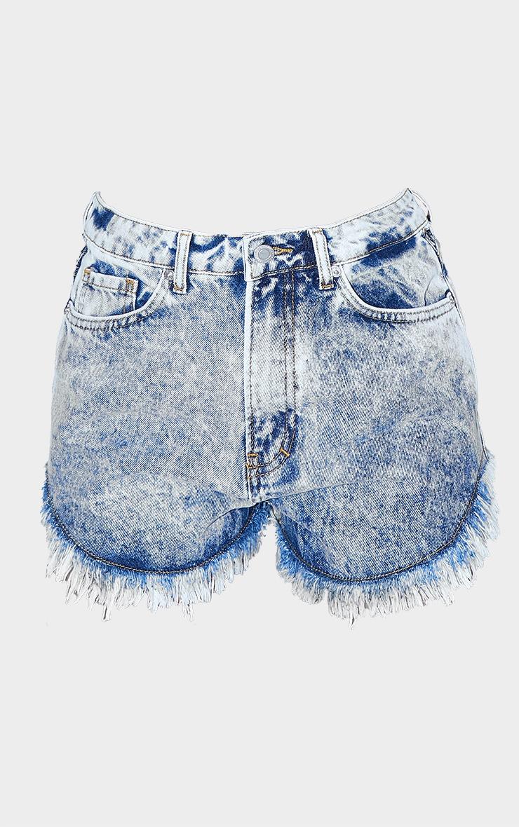 Bleach Wash Frayed Hem Cut Out Waist Denim Shorts 6