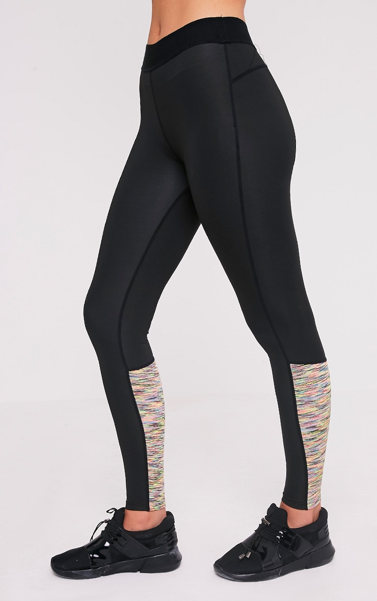 Sindie  Mutli Coloured Marl Panelled Gym Leggings 4