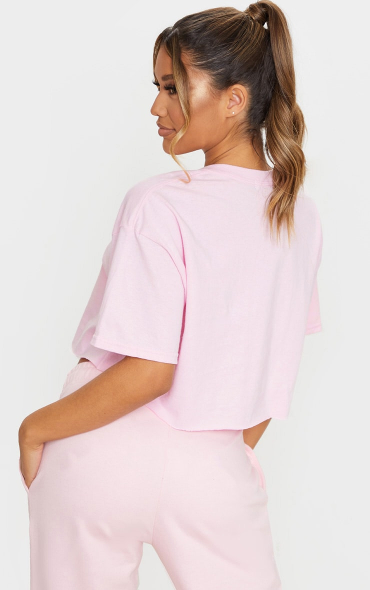 Baby Pink Spicy Printed Crop T Shirt 2
