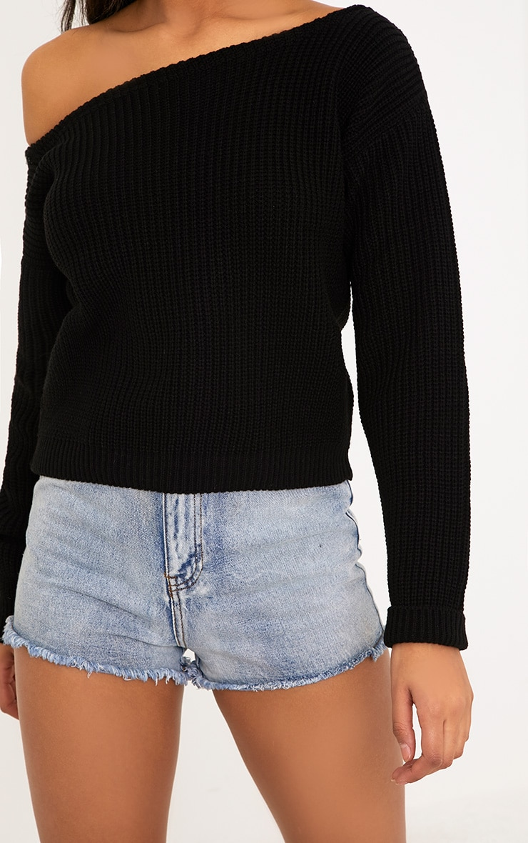 Black Off The Shoulder Crop Sweater 5