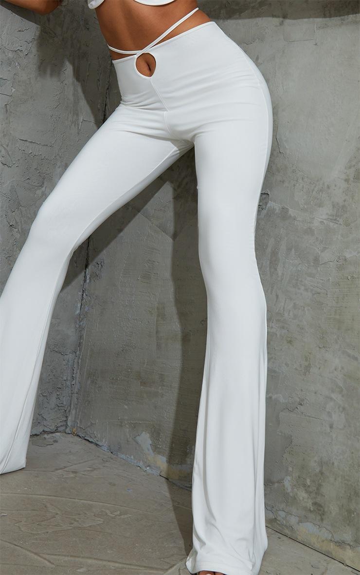 Cream Slinky Keyhole Flared Pants 4