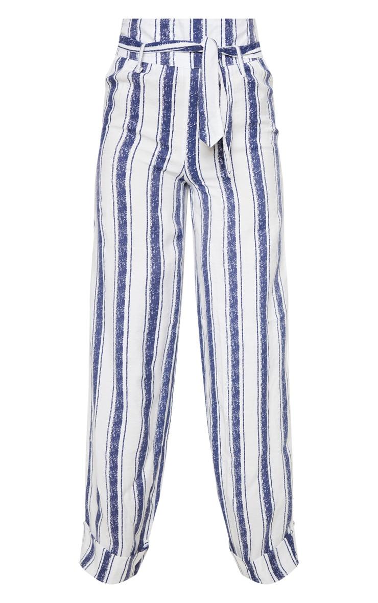 Navy Stripe Belt Waist Wide Leg Pants 3