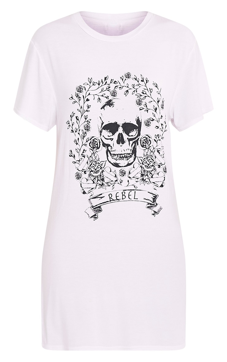 Rebel Skull White Printed T shirt Dress 3