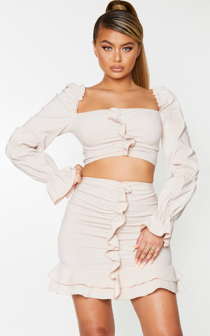 Nude Woven Stretch Front Long Frill Ruched Sleeve Crop Top 1