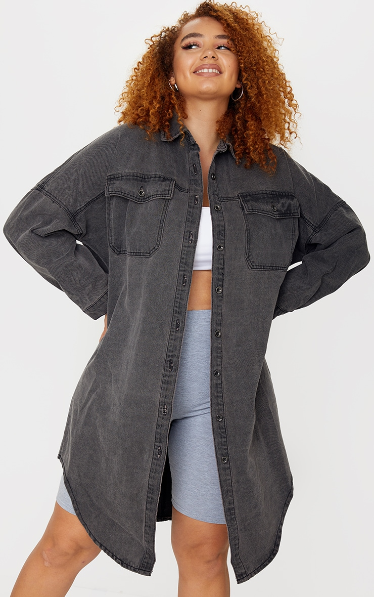 Plus Washed Black Longline Oversized Denim Shirt 1