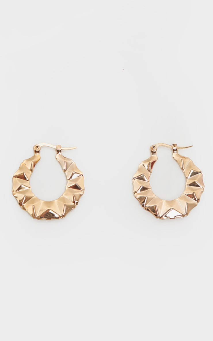 Gold Mini Faceted Hoops 1