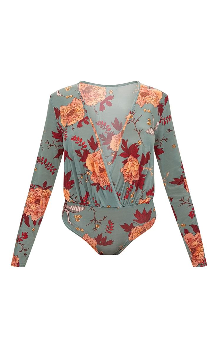 Dark Green Floral Printed Long Sleeve Thong Bodysuit  3