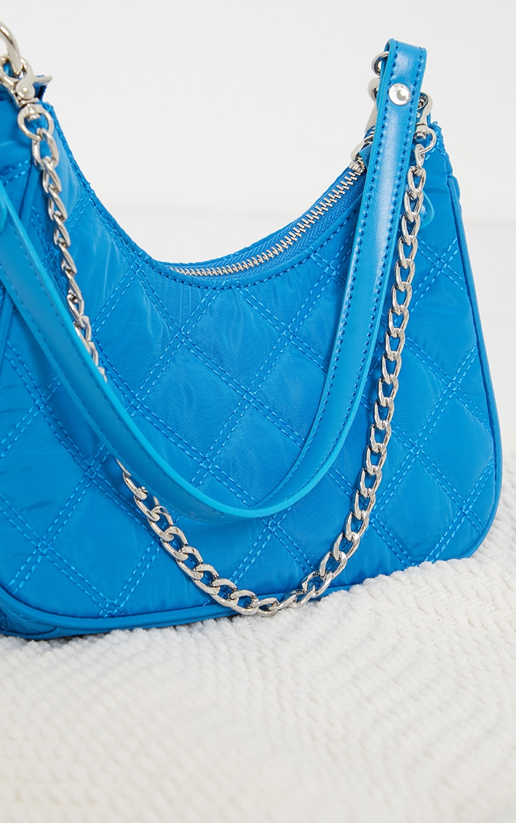 Electric Blue Quilted Silver Chain Detail Shoulder Bag 4