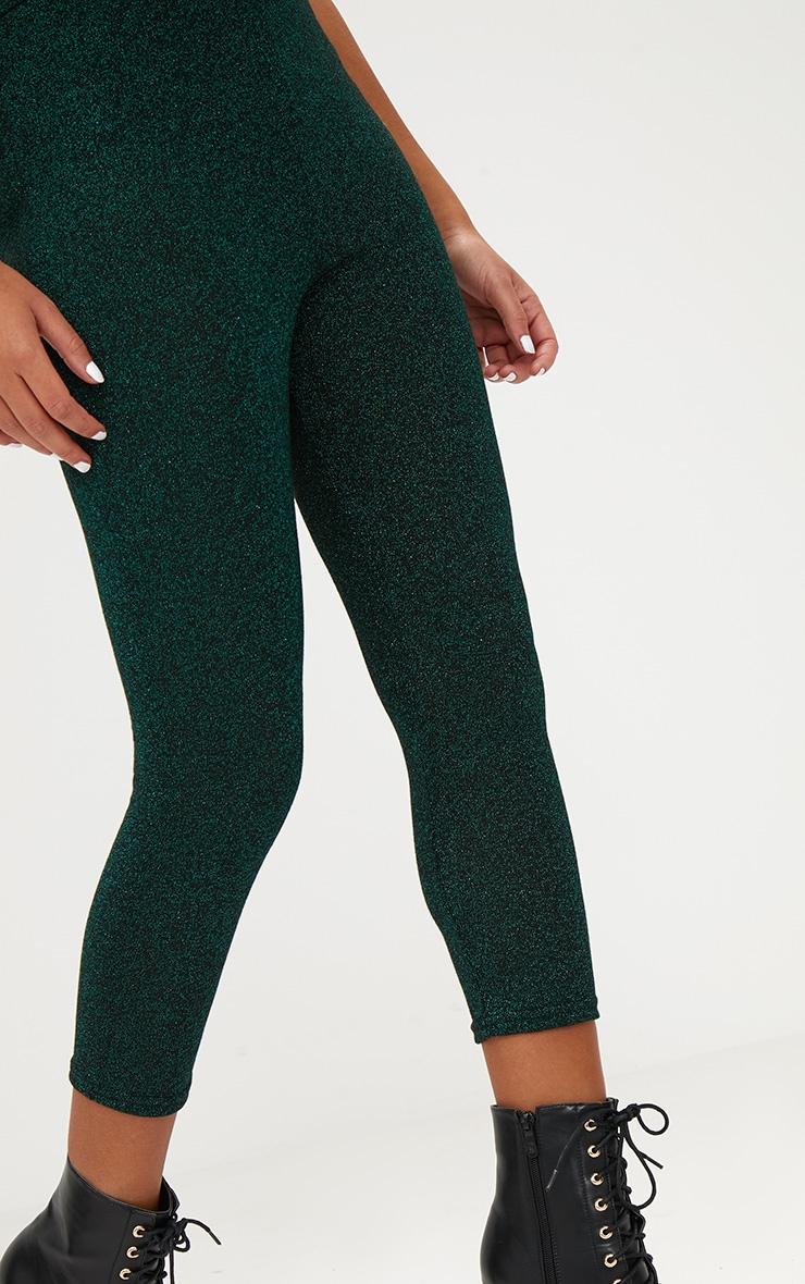 Emerald Green Metallic Cropped Leggings 5