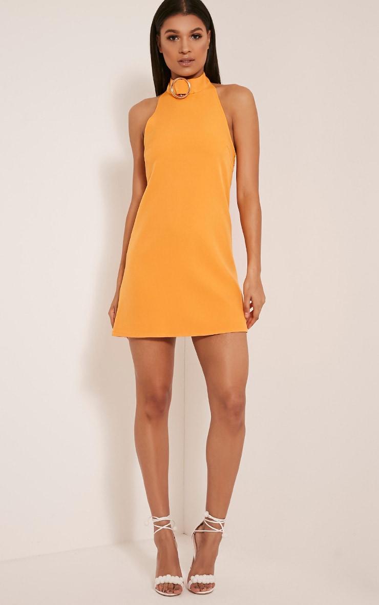 Hamza Bright Orange Ring Detail Backless Shift Dress 5