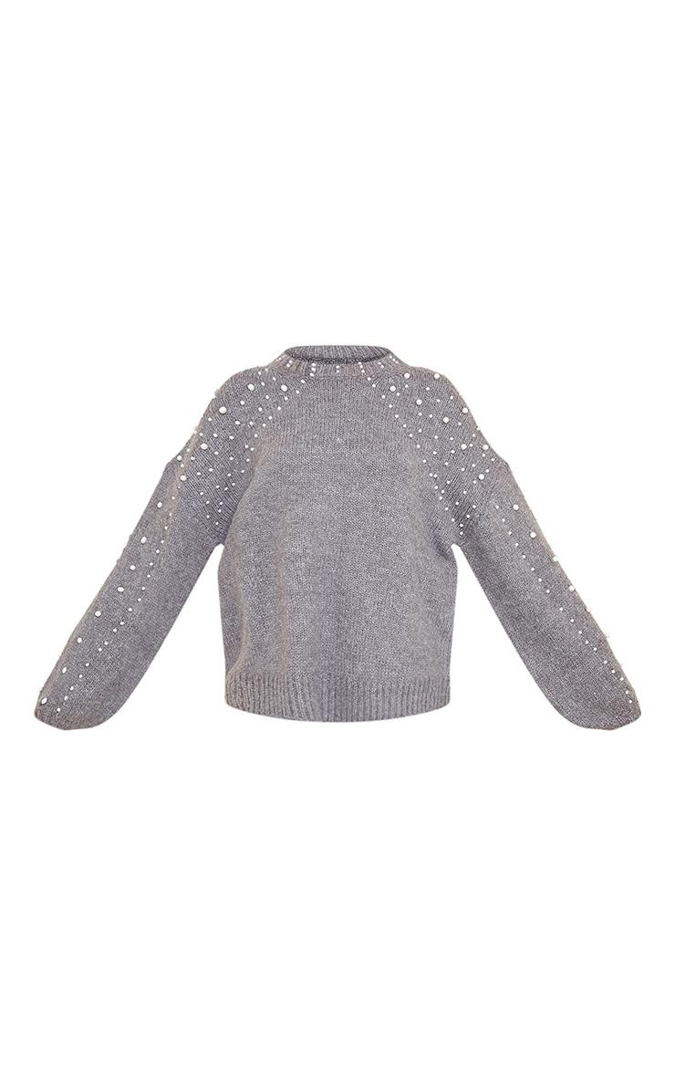 Grey Embellished Sleeve Turtle Neck Sweater 5