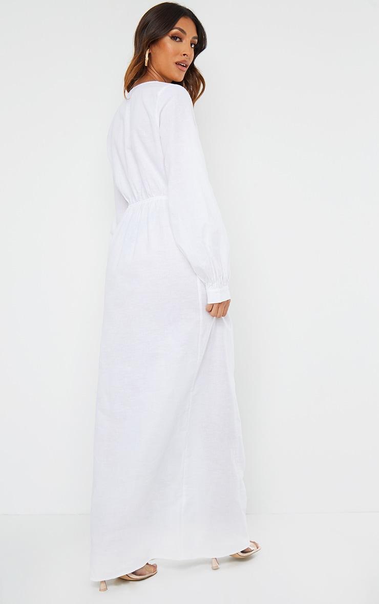 White Woven Elastic Waist V Neck Maxi Dress 2