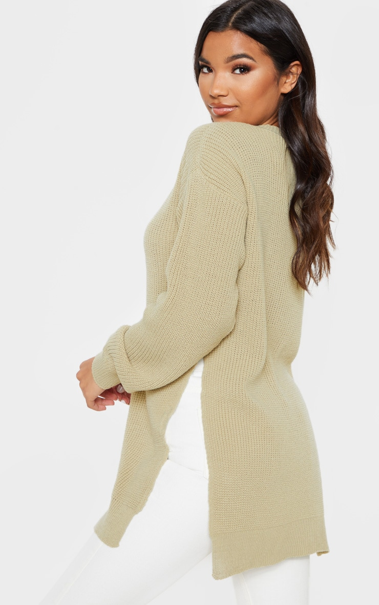 Stone Round Neck Side Split Sweater 2
