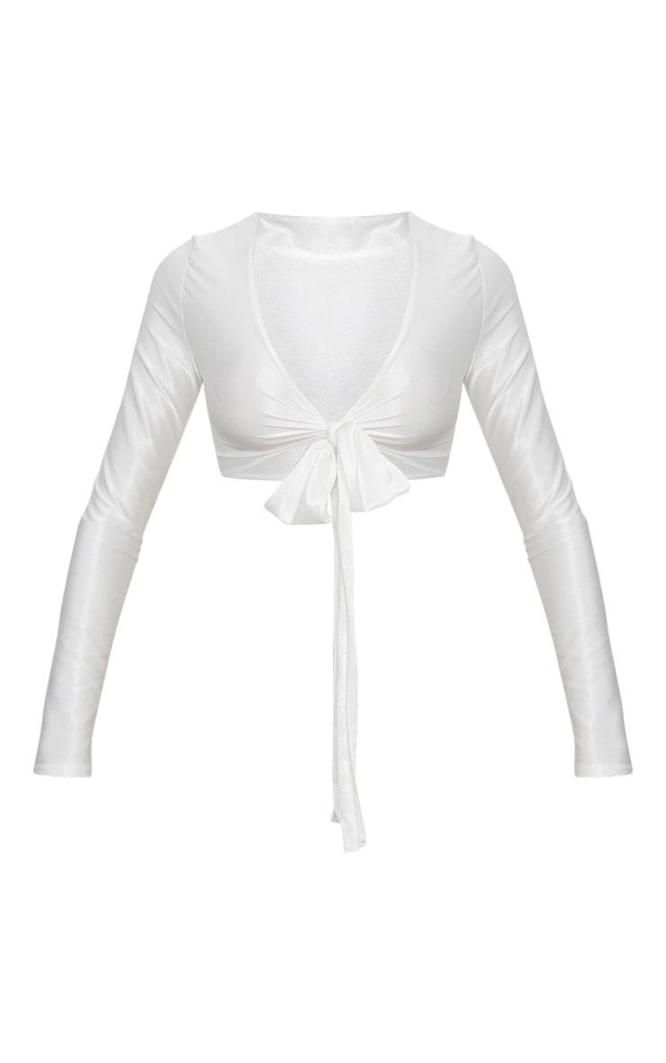 Cream Slinky Shimmer Tie Front Long Sleeve Crop Top 3