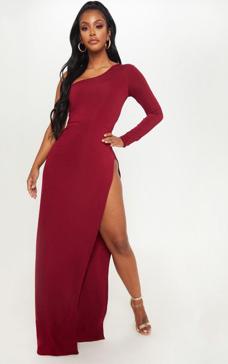68ea02fc2be1 Shape Burgundy Slinky One Shoulder Side Split Maxi Dress image 1