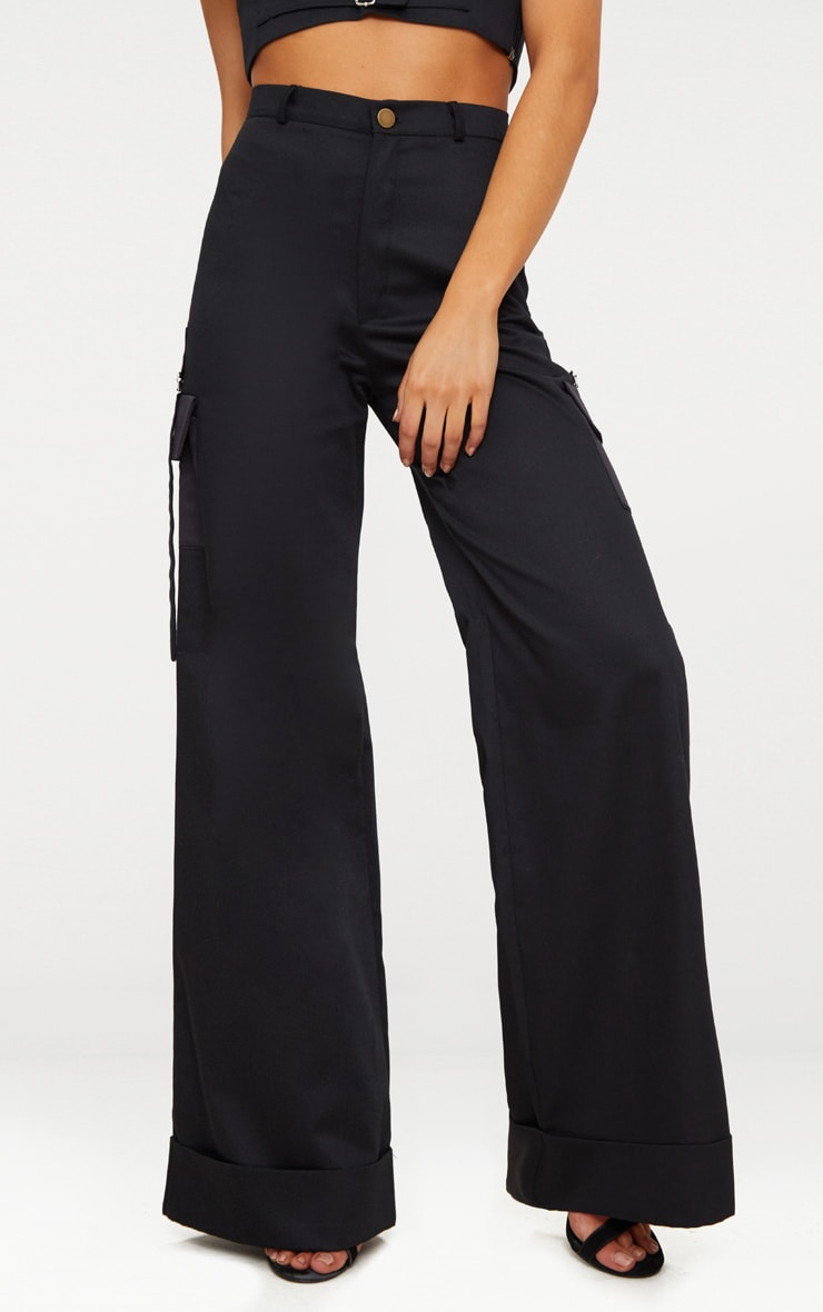 Petite Black Pocket Detail Cargo Trousers 2