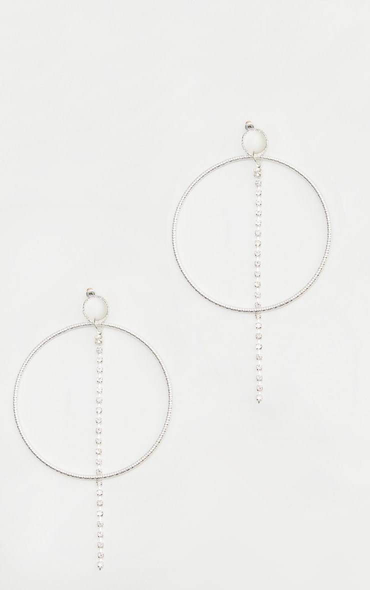 Silver Diamante Hoop Line Earrings 2