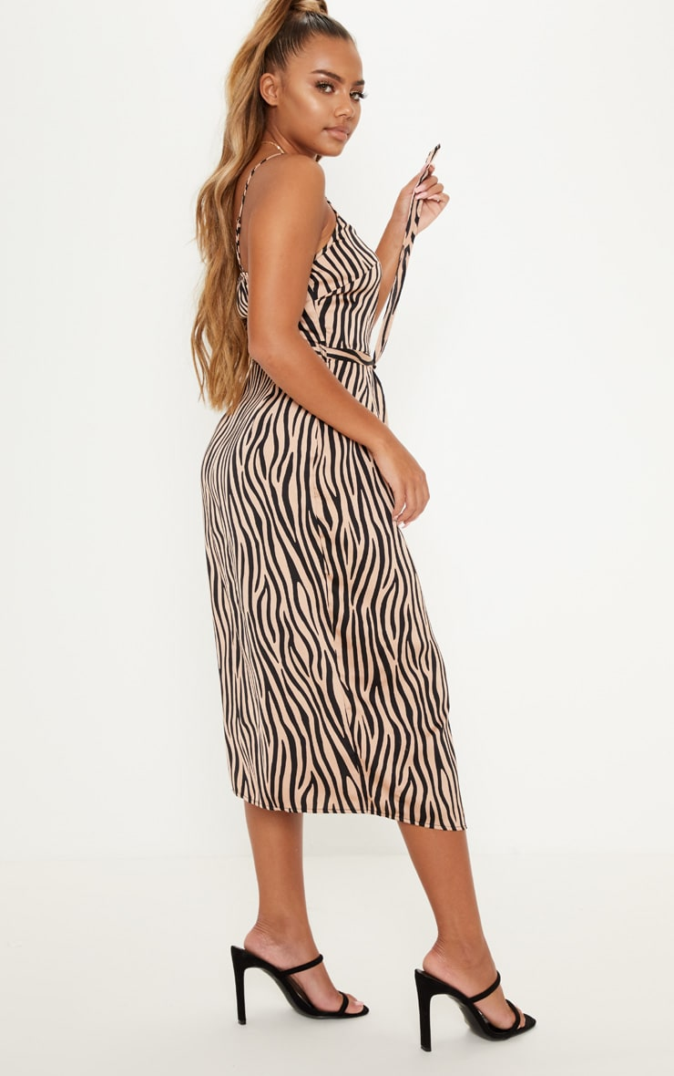 Tan Tiger Print Wrap Slip Dress 2