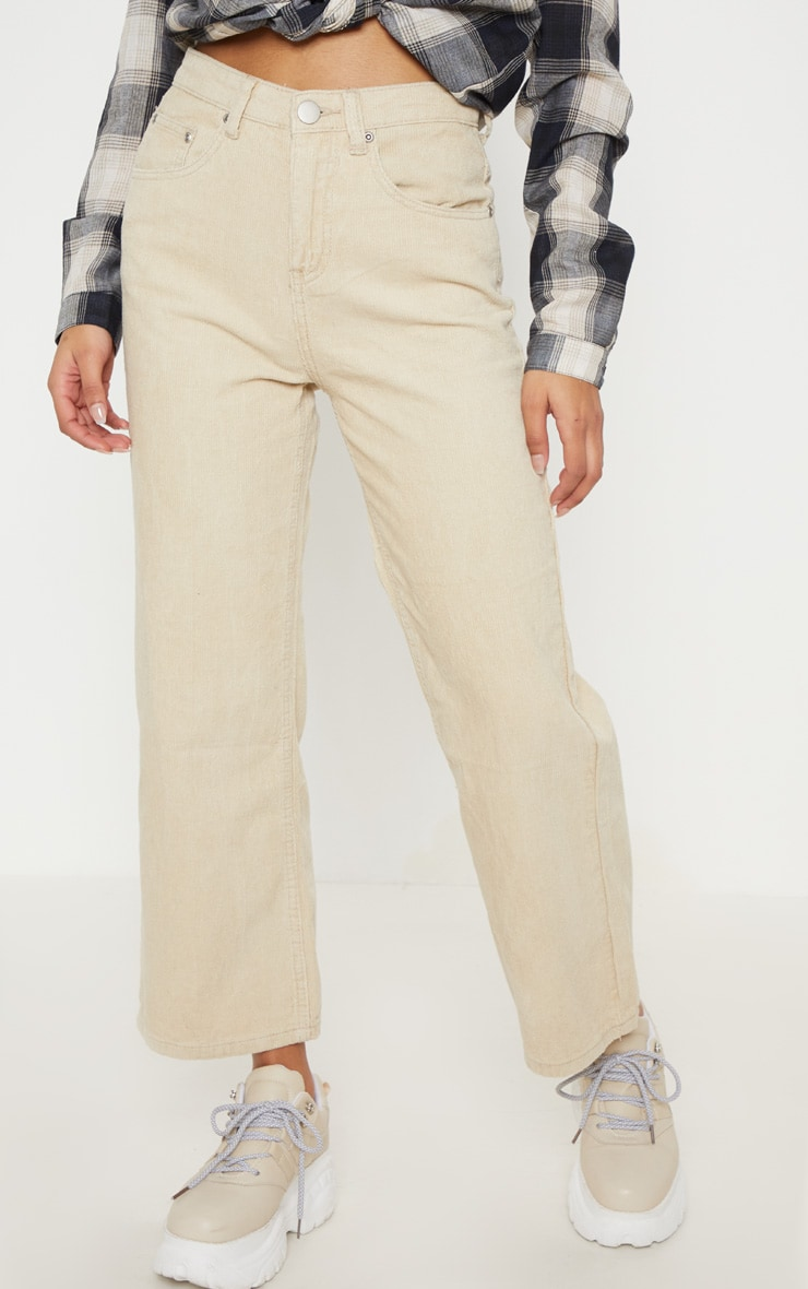 Stone Button Through Wide Leg Cropped Jeans  3