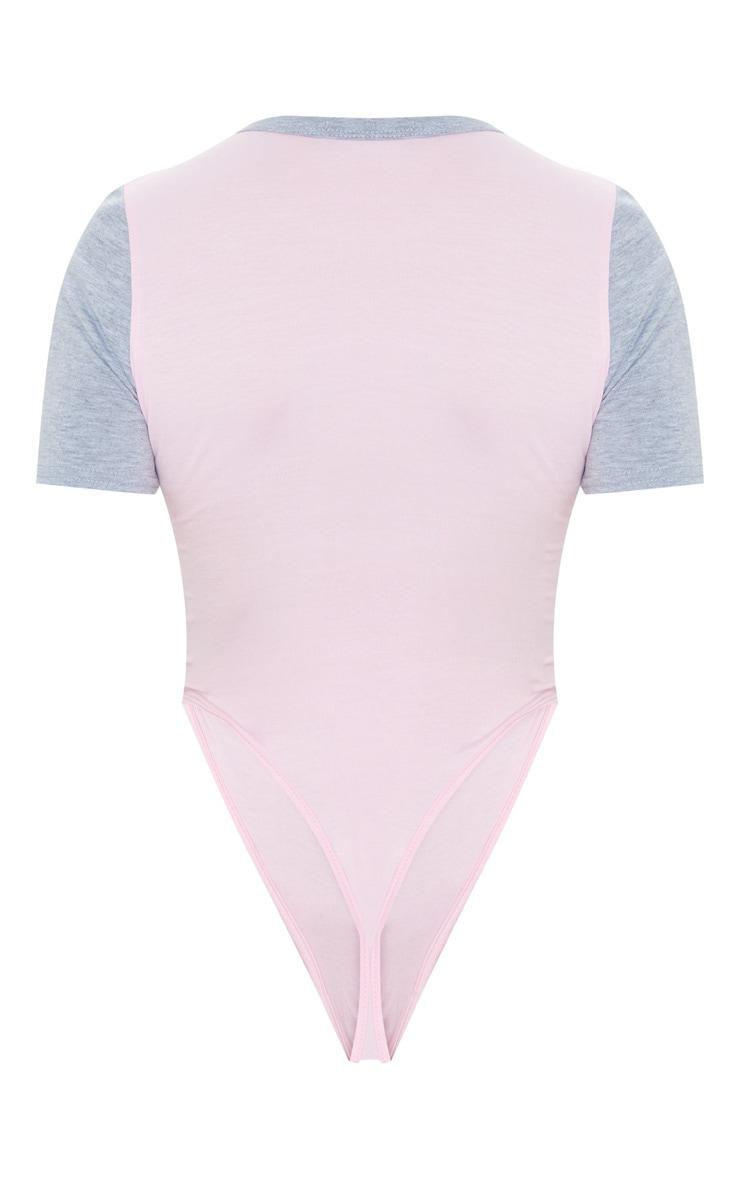 Baby Pink Jersey Contrast Bodysuit 6
