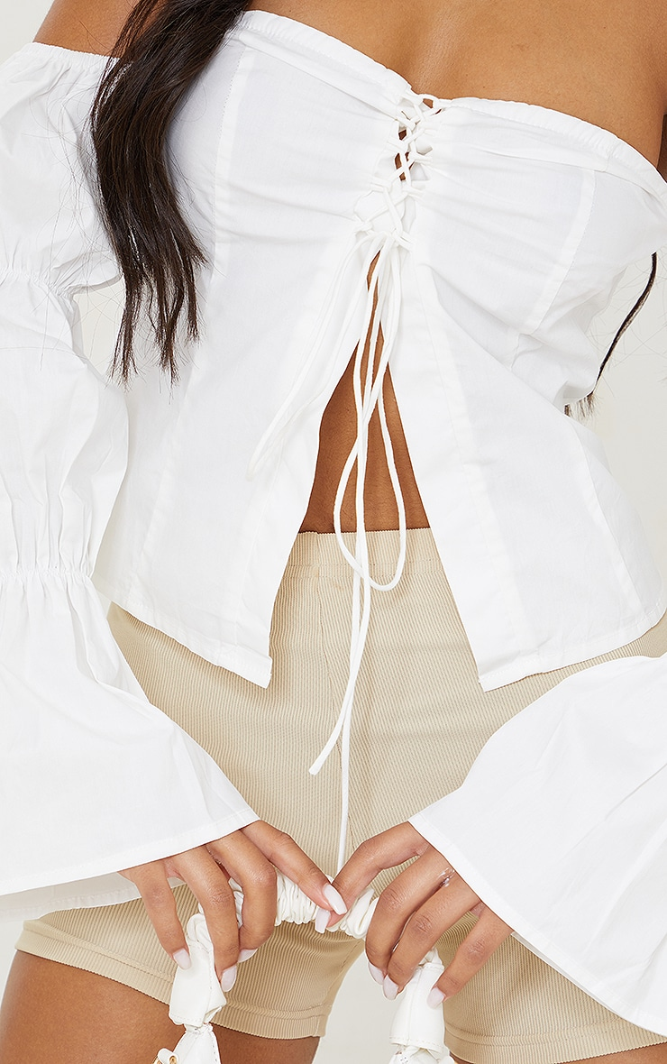 White Cotton Poplin Bardot Lace Up Crop Top 4