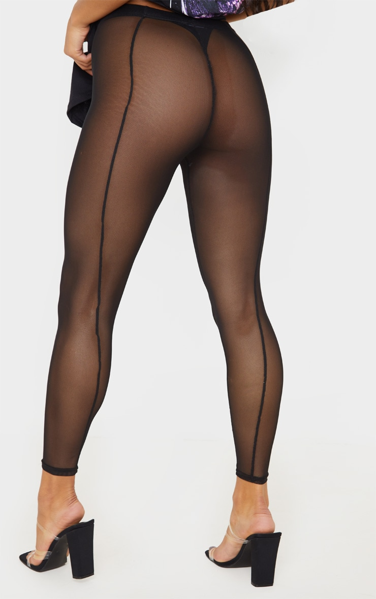 Black Mesh Seam Detail Legging 4