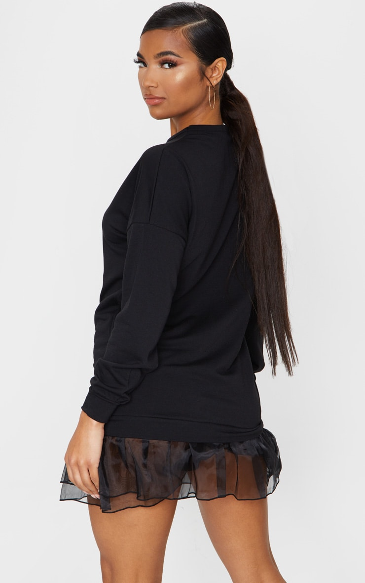 Black Long Sleeve Organza Hem Detail Jumper Dress 2