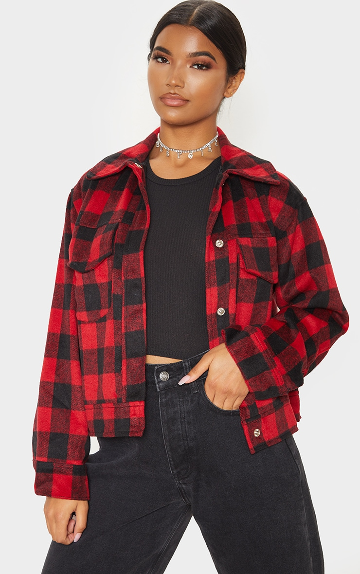 Red Check Print Trucker 1