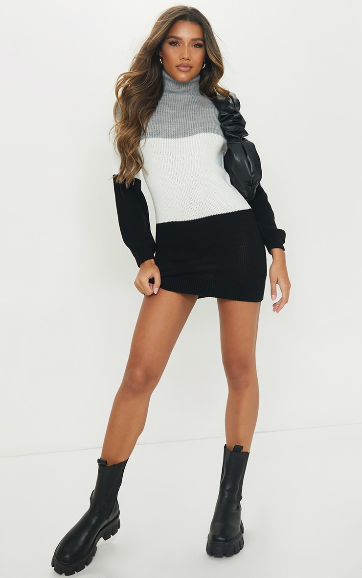 Grey Color Block Chunky Roll Neck Sweater Dress 3