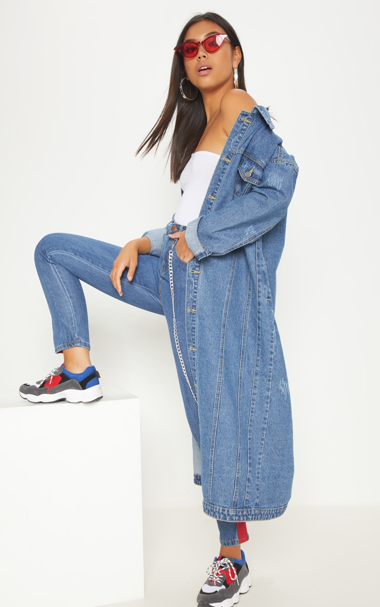 Light Wash Distressed Maxi Denim Jacket  1