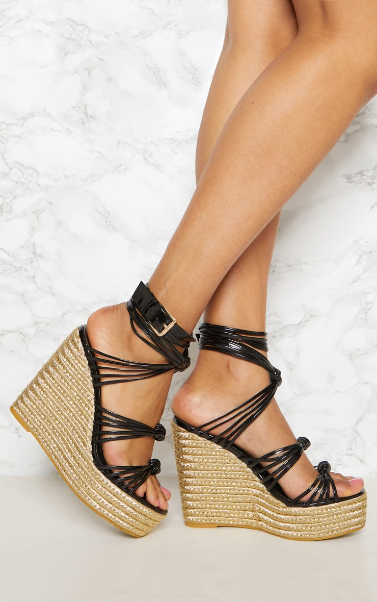 Black Multi Strap Espadrille Wedge