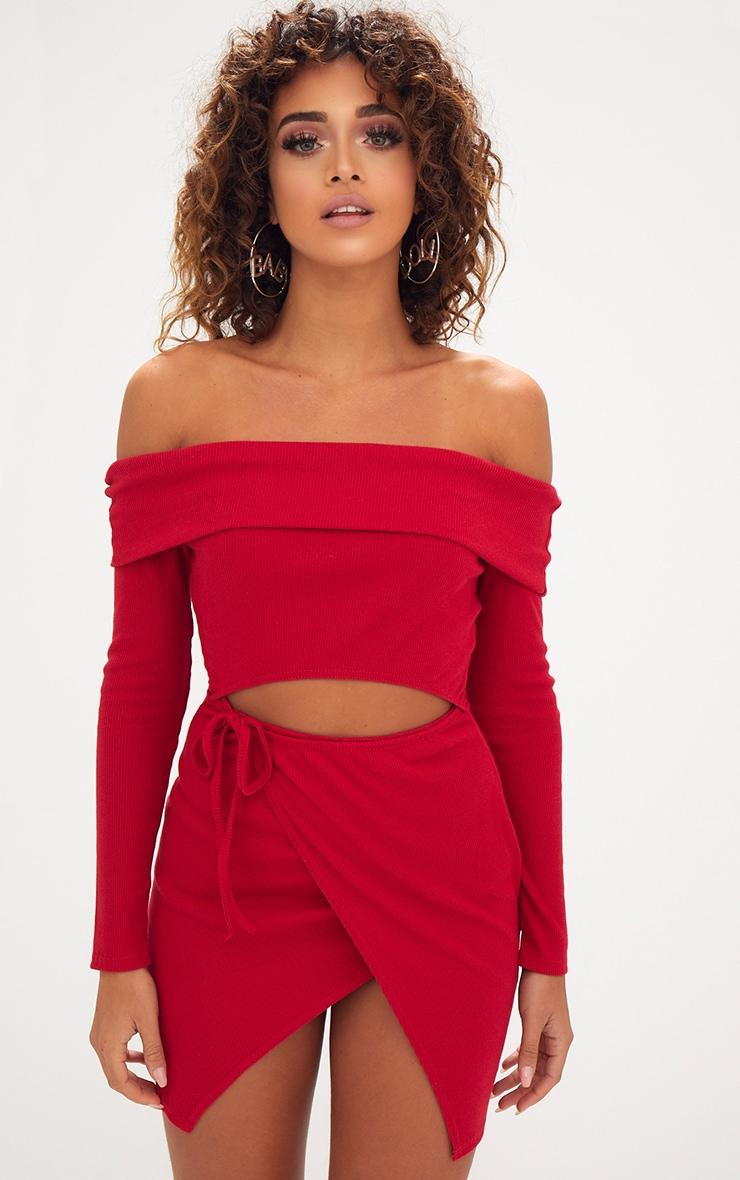 robe moulante cache c ur bardot rouge nou e. Black Bedroom Furniture Sets. Home Design Ideas