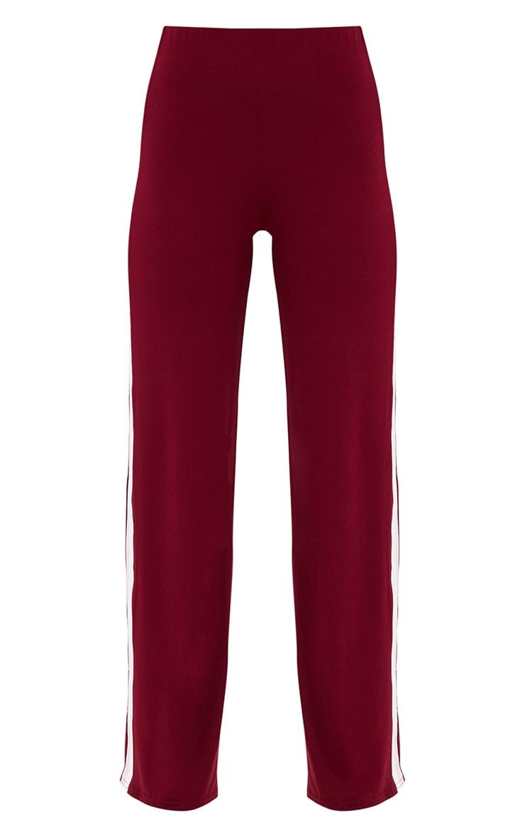 Petite Burgundy Sports Stripe Jersey Wide Leg Trousers 3