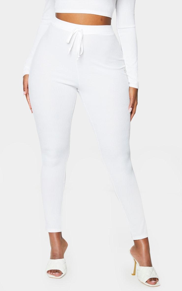 Shape Cream Ribbed High Waist Legging 2