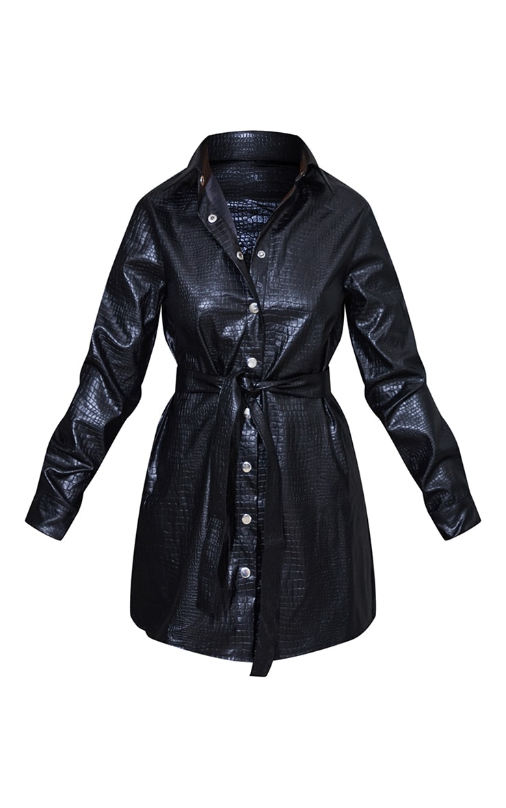 Petite Black Embossed Moc Croc Belted Shirt 5
