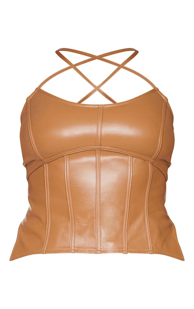 Plus Tan Binding Detail PU Cropped Cami Top 5