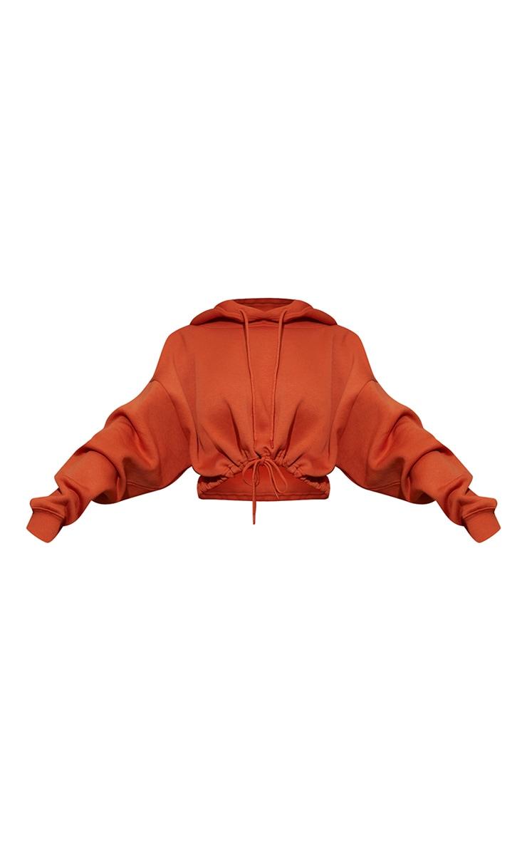 Burnt Orange Tie Elasticated Hem Cropped Hoodie 5