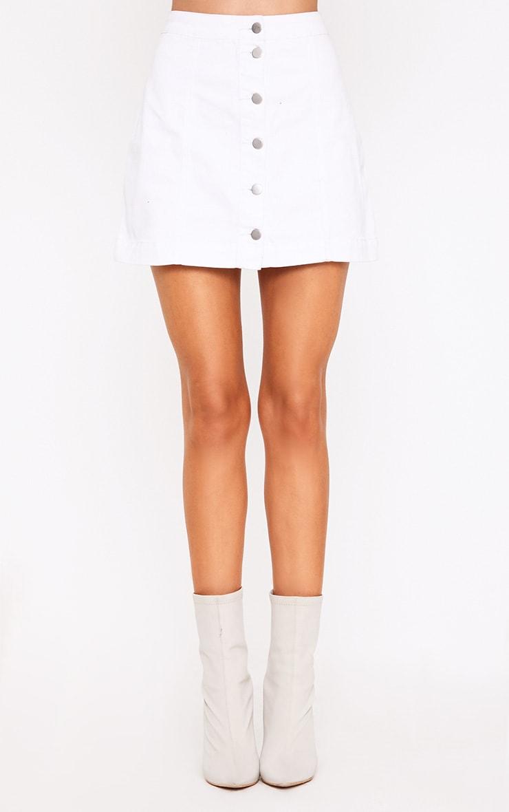 Cammie minijupe en jean blanche  2