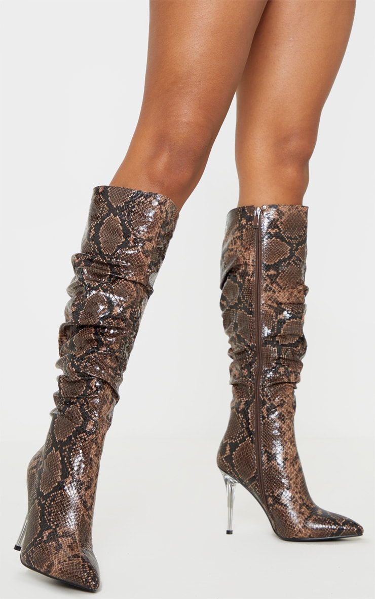 Brown Snake Knee High Clear Heel Square Toe Slouch Boot 1