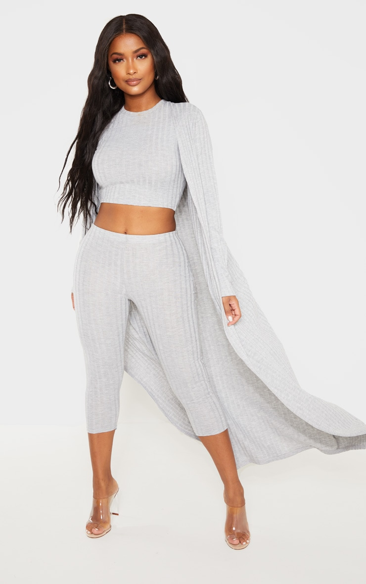 Shape Grey Wide Rib Maxi Cardigan 1