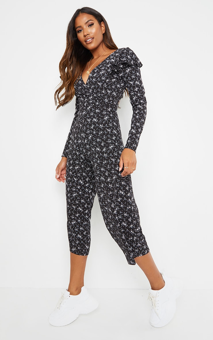 Black Ditsy Long Sleeve Tie Back Culotte Jumpsuit 3
