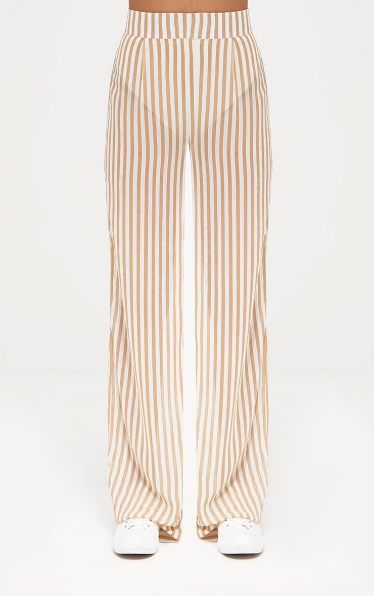 Stone Sheer Stripe Wide Leg Trousers 2