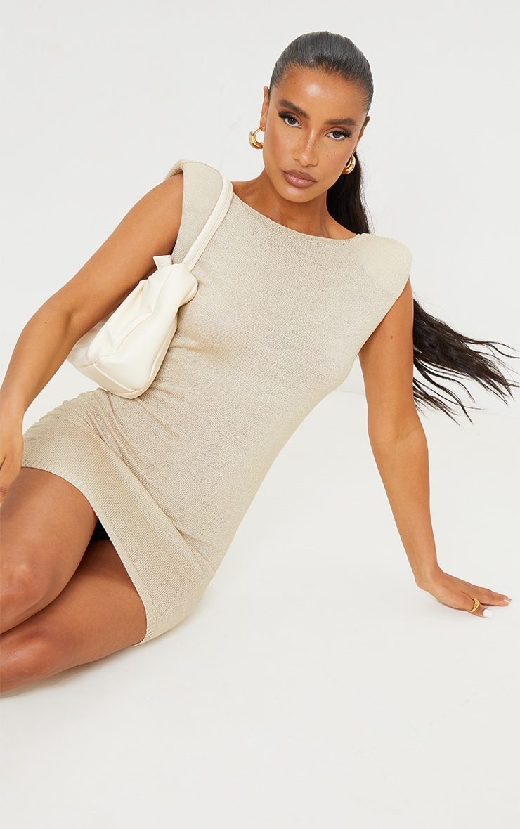 Beige Shoulder Pad Sheer Knit Dress 2